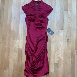 Lord & Taylor NWT deep red gathered dress